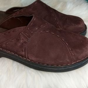 Clarks Shoes - CLARKS Brown Suede Leather Low Heel Mules 10M